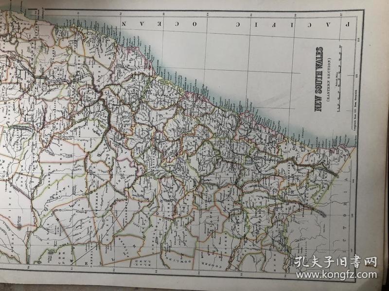 1895年 澳大利亚新南威尔士州地图 非常精美 33*45cm