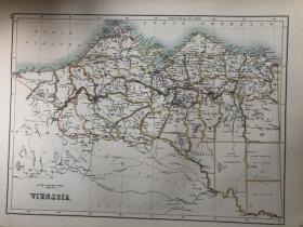1895年 澳大利亚维多利亚州地图 非常精美 33*45cm