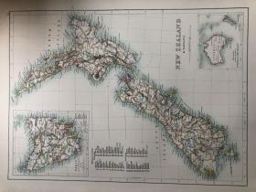1895年 新西兰地图 非常精美 33*45cm