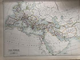 1895年 古代世界地图 非常精美 33*45cm