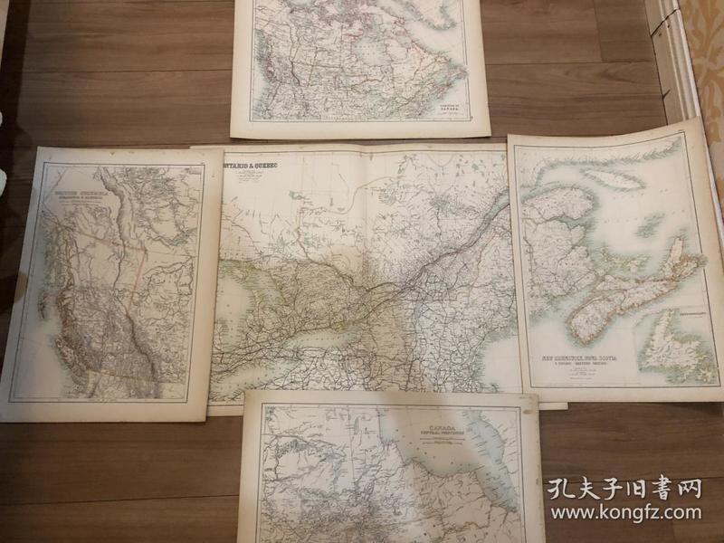 1895年 加拿大及各州地图共5张地图 非常精美 大张65*45cm,小张33*45cm