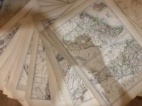 1895年 美国各州地图共计26张全地图 非常精美 33*45cm