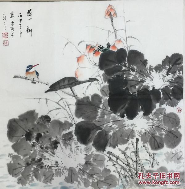 ★【顺丰包邮】·【萧平】国家一级美术师、中美协会员、手绘斗方花鸟2买家自鉴
