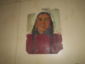 著名油画家顾祝君 早期油画写生:《女社员》(背面有一人物速写草稿)