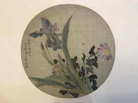 民国时期王世襄之母金章(金陶陶)绢本花卉团扇面一幅