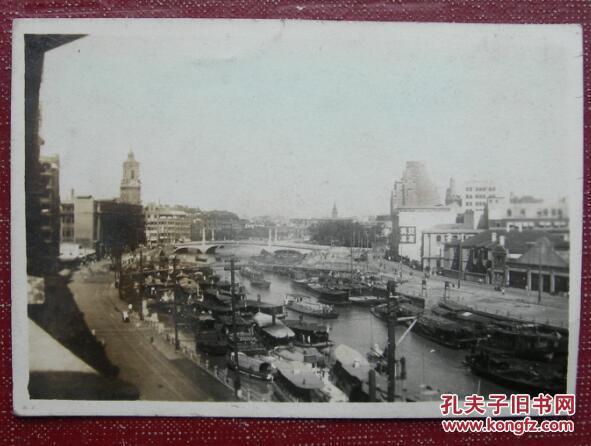 """【民国老照片】民国上海苏州河风景,有""""亚兴仓库""""字样"""
