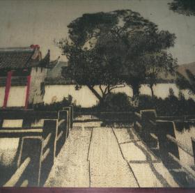 民国绢本彩绘织染西湖风景图