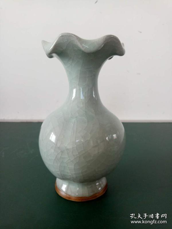 景德镇窑变瓷·裂纹釉·瓷花瓶·裂变釉花口花瓶·瓷器瓶