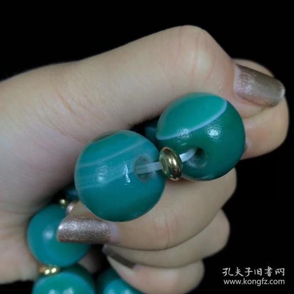 回流老料祖母绿天眼石一眼天珠手串 尺寸:18*16毫米