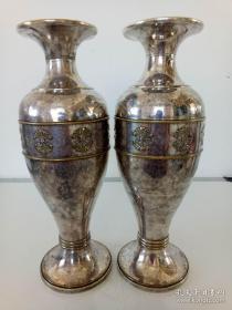 铜鎏银花瓶一对·手工雕刻【老式花瓶摆件】民间收来的老物件·包老保真·品相好·仅此一对·值得收藏.
