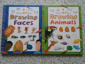 Usborne ART ideas:Drawing Faces、Drawing Animals  两本合售  精装本  请阅图