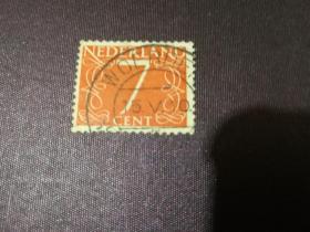 荷兰邮票 1953年 数字7邮票(信销票)