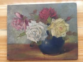 日本手绘油画一幅,木板上绘制,质感十足