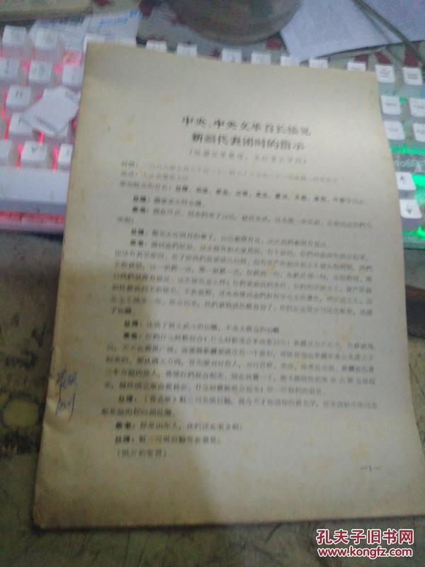 中央、中央文革首长接见新疆代表团时的指示【※文革原版实物文献※ 绝对原版 】