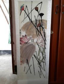 国画: 荷塘翠鸟