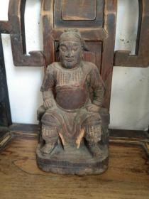 《清代 彩绘木雕二郎真君坐像》高28厘米,宽16厘米!雕刻精细!