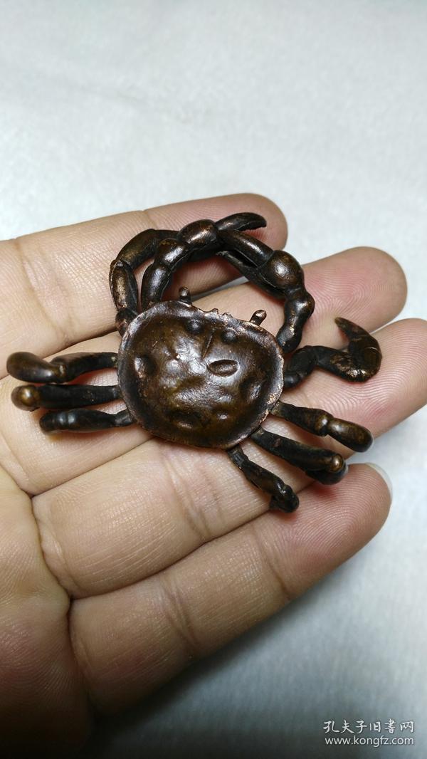 下乡收的老货【旧物换钱】案头小精品紫铜螃蟹八面来财
