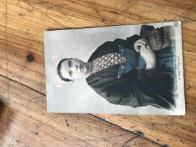 2774:1921年实寄到上海的 明信片 COSTUMES BRETONS 244.PAYS DU LEON--JEUNE FILLE DE LANDIVISIAU ET SAINT-THEGONNEC