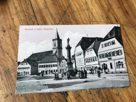 2744:1923年实到上海的《NEUSTADT A. SAALE, MARKTPLATZ》明信片一张