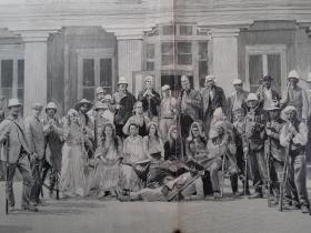 1900年 庚子之乱  从保定府逃出的外国人聚在天津使馆的草坪  印刷画作 可作墙饰、生日礼物、收藏 或 学术研究