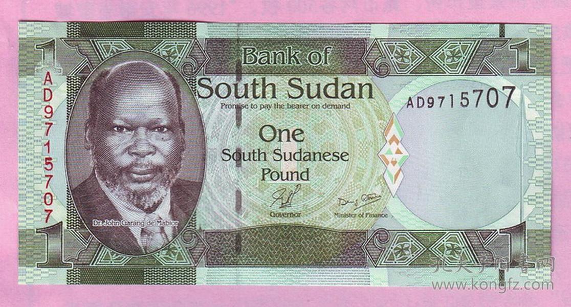 最年轻的国家--非洲南苏丹1镑,于2011年7月18日正式发行,品相全新,正面:苏丹反政府武装领导人约翰·加朗JohnGarang(1945-2005)背面:长颈鹿。