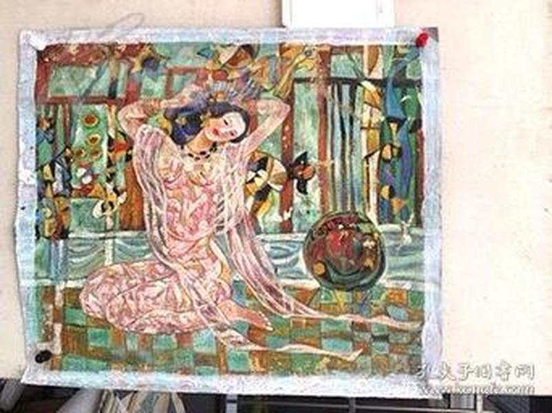 有着粉色的灵魂.斑斓的有如毕加索那样的色调,扭曲的美丽的身姿有如维纳斯,厚重的昂贵颜料油画,保真80*90纯手绘的