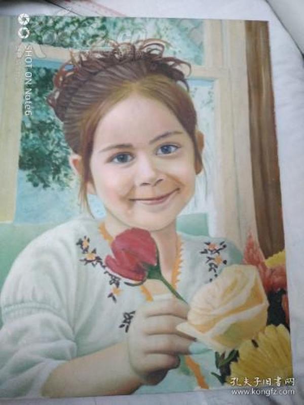 《美丽可爱的小姑娘》流出油画保真40*36纯手绘的