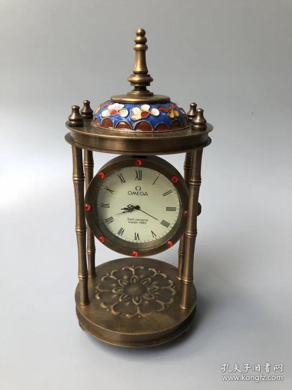 精美老黄铜 欧米茄景泰蓝掐丝珐琅彩古堡机械表 时钟 座钟 手动上劲图片