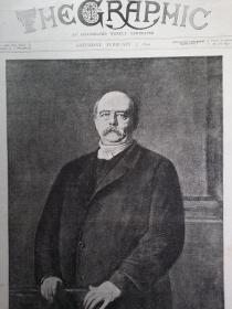 1894年 德意志帝国第一任宰相 俾斯麦画像  印刷画作 可作墙饰、生日礼物、收藏 或 学术研究