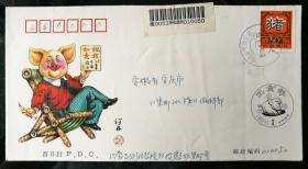 """趣味封:1995""""乙亥猪""""50分邮票挂号首日实寄封(呼和浩特寄安庆)"""
