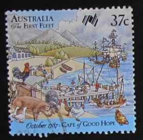 澳大利亚邮票-----1787年10月第一舰队到达好望角(信销票)