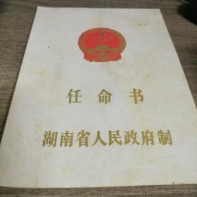 任命书 湖南省人民政府制