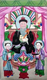 狐仙文化民俗信仰~清末或民国时期杨柳青木版年画版画《胡三太爷》(狐三太爷)