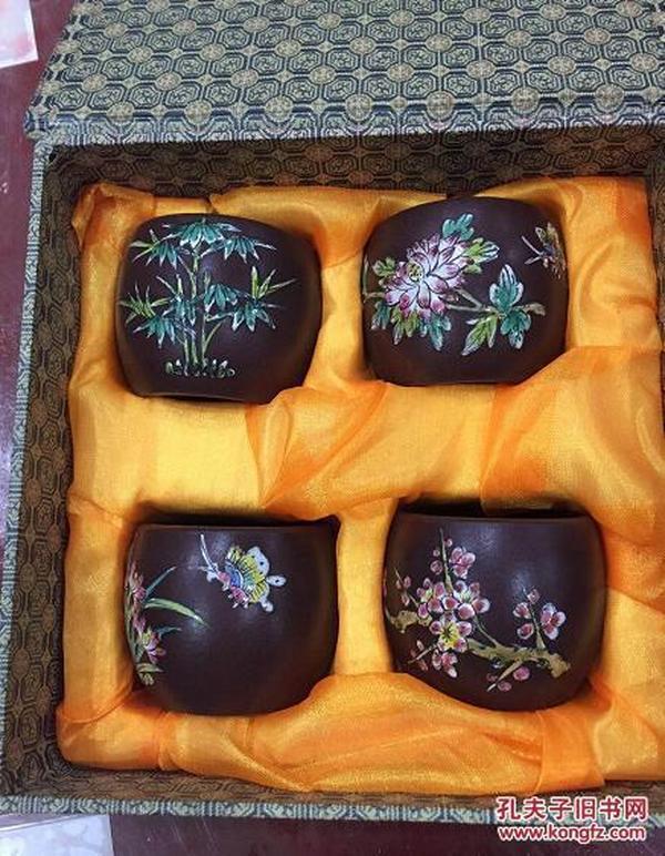 精品紫砂茶具 茶杯一套 紫砂镶粉彩瓷梅兰竹菊茶杯