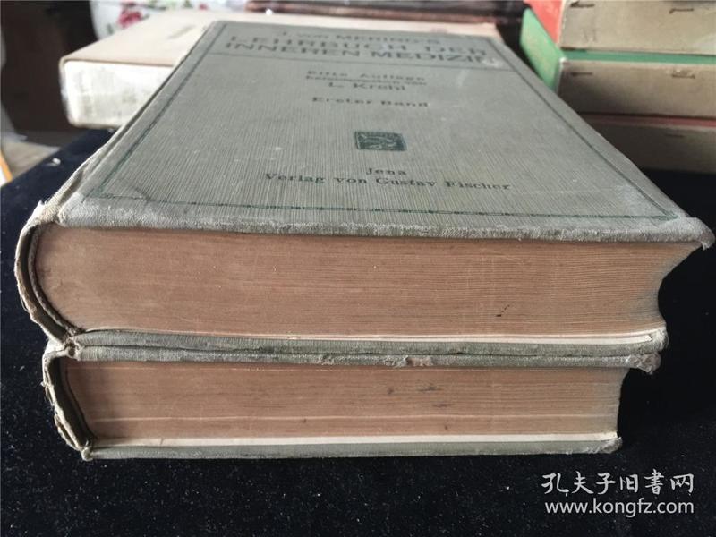1919年出版的西洋医学书籍《LEHRBUCH DER INNEREN MEDIZIN》2册全。有插图,书中有笔记。