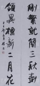 已故中书协会员.中国书协书法培训中心教授.著名青年书法家杨洁书法对联《删繁就简三秋树 领异标新二月花》一幅(尺寸约4.3平尺  )