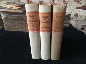 1926年欧美英文版古书《卖淫的历史》(《History of Prostitution》)全3册。有些页未裁开(不知是否是毛边本?请自判)。限印版,本书编号1060号。卷前各有一张画。