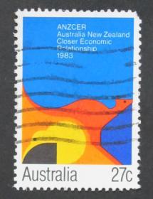 澳大利亚邮票----澳大利亚新西兰紧密的经济关系(信销票)