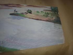 :3: 佚名: 五十年代人物山水水彩画作品
