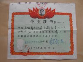 1963年【南京市裴家桥小学,毕业证书】有毛主席像