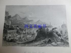 【现货 包邮】《太湖,波罗庙》1845年铜/钢版画 托马斯-阿罗姆 (Thomas Allom)作品 尺寸约26.2 × 20.5厘米 出自中华帝国图景(货号18021)
