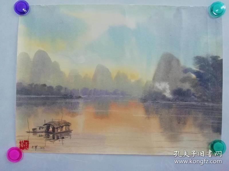 (包真)王军签名水彩画~桂林山水系列63*49厘米18号