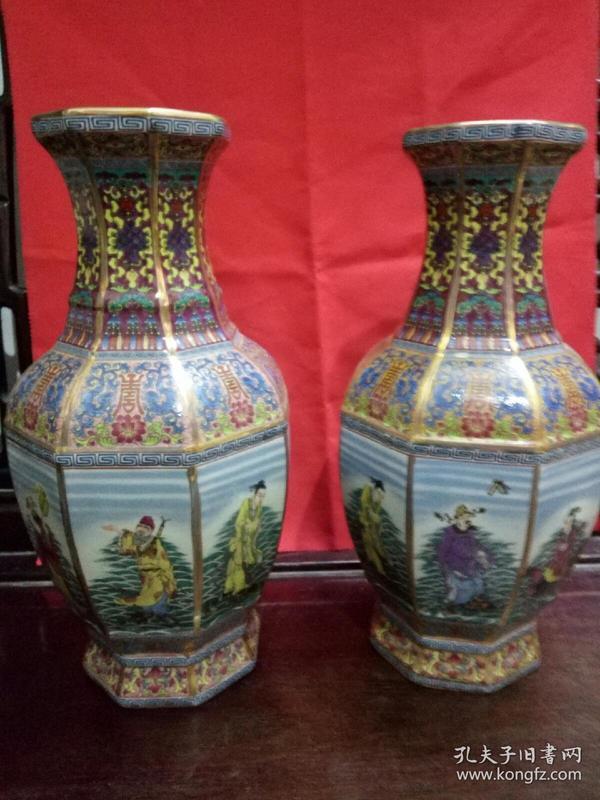 八十年代出口创汇产品:旧珐琅彩,景泰蓝八仙过海花瓶一对(底款;乾隆御制)