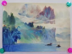 (包真)禤海松签名水彩画~桂林山水系列63*49厘米18号