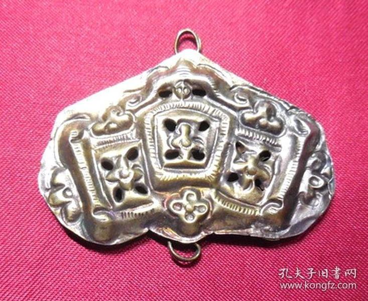 老鎏金银铜合制镂空梅花纹中承吊挂件民国期古董饰品挂饰件