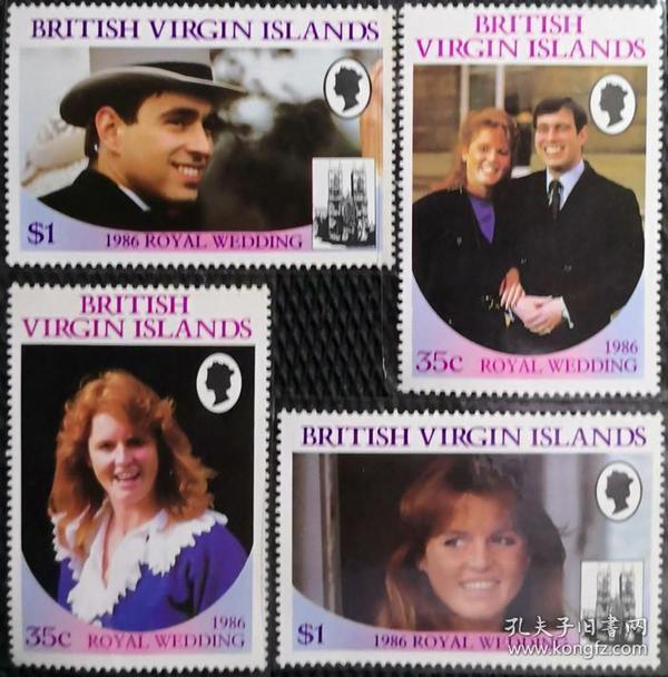 英属维尔京群岛1986年  安德鲁王子大婚 4全 新(有1枚微折)实拍