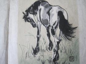 早期木板水印画 徐悲鸿 马