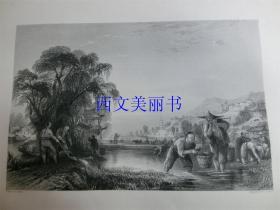 【现货 包邮】《插秧》1845年铜/钢版画 托马斯-阿罗姆 (Thomas Allom)作品 尺寸约26.2 × 20.5厘米 出自中华帝国图景(货号18021)