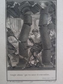 十八世纪 1780年代 铜版画 参孙 (Samson) 可作墙饰、收藏或教学用途 VINTAGE COPPER ENGRAVING PRINT