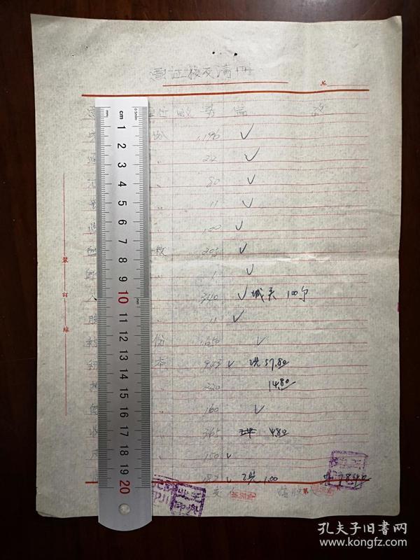 陕西渭南地区:  60年代   蒲城县兴镇票证移交清册    单据1张